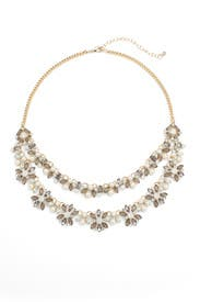 Gold Layered Crystal and Pearl Necklace by Slate & Willow Accessories