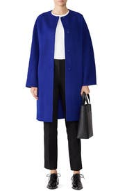 Cosmic Blue Rounded Coat by Theory