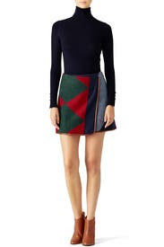 Cheval Patchwork Skirt by Tory Burch
