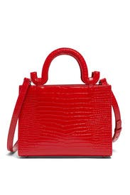 Mini Linda Red Embossed Bag by Les Petits Joueurs
