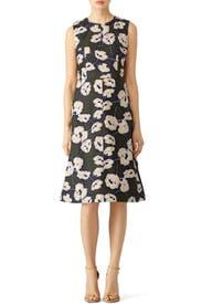 Dark Olive Floral Printed Dress by Marni