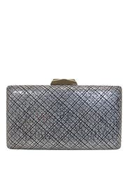 Black Metallic Etched Box Clutch by Sondra Roberts
