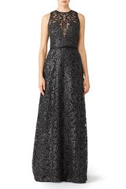 Metallic Lace Gown by Theia