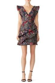 Floral Ruffle Trim Dress by ML Monique Lhuillier