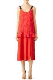Red Floral Burnout Dress by Mother of Pearl