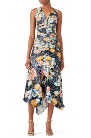 Ruched Navy Floral Dress by Peter Pilotto