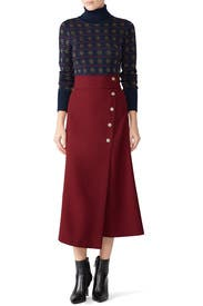 Red Button Midi Skirt by Tara Jarmon