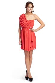 Vermillion One Shoulder Dress by Tibi