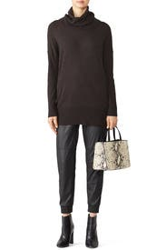 Anthracite Cowl Neck Sweater by Josie Natori
