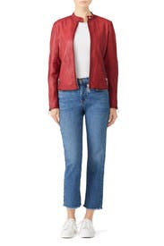 Red Leather Jacket by DOMA