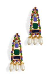 Multi Drop Pearl Clip Earrings by Kenneth Jay Lane