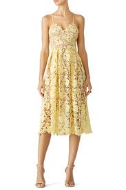 Yellow Lace Midi Dress by Slate & Willow