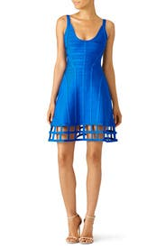 Blue Vivien Cage Dress by Hervé Léger