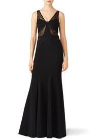 Black Lace Poise Gown by Mignon