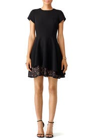 Black Peekaboo Lace Hem Dress by Slate & Willow