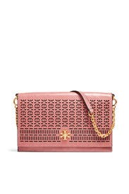 Pink Kira Perforated Clutch by Tory Burch Accessories