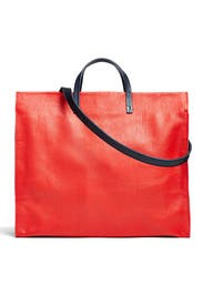 Red Leather Simple Tote by Clare V.