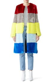 Ona Faux Fur Patchwork Coat by Osman