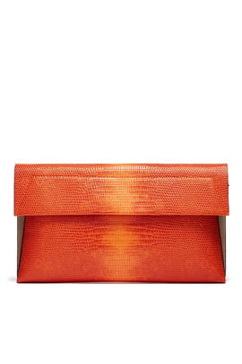 Orange Lizard Karima Clutch by Christian Siriano Handbags