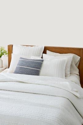Full/Queen Belgian Flax Linen Solid Linework Bedding Bundle by West Elm