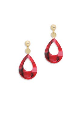 Red Resin Teardrop Earrings by Ettika