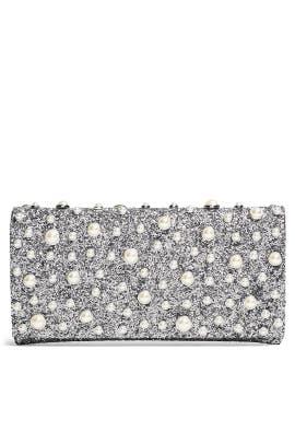 Pearl Silver Glitter Clutch by Sondra Roberts