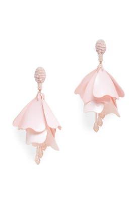 Pink Impatiens Flower Drop Earrings by Oscar de la Renta