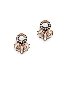 Crystal Fan Pearl Earrings by Slate & Willow Accessories