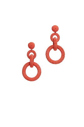 Coral Ring Drop Earring by Kenneth Jay Lane