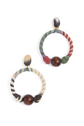 Embroidered Hoop Earrings by Oscar de la Renta