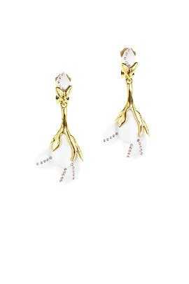 Magnolia Resin Flower Earrings by Oscar de la Renta