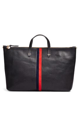 Black Stripe Attache Tote by Clare V.