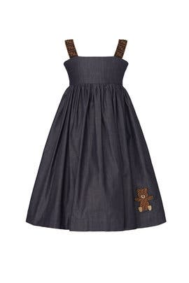 Kids Logo Denim Dress by Fendi Kids