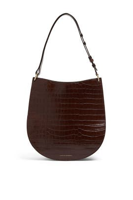 Chocolate Caroline Twisted Ring Leather Hobo Bag by Loeffler Randall