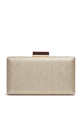 Gold Woven Box Clutch by Sondra Roberts