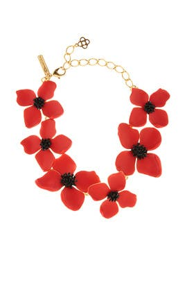 3a870a8e6 Red Painted Flower Necklace by Oscar de la Renta for $85 | Rent the Runway