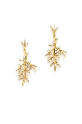 Pearl Bamboo Leaf Earrings by Oscar de la Renta