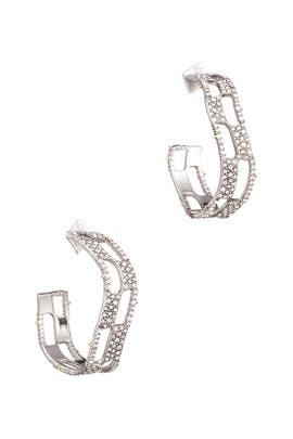Pave Checkerboard Hoop Earrings by Alexis Bittar