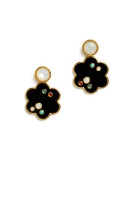 Black Flower Poppy Earrings by Lizzie Fortunato