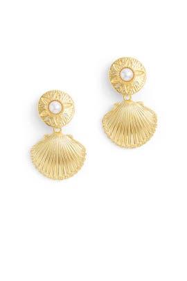 Gold Shell Drop Earrings by Kenneth Jay Lane