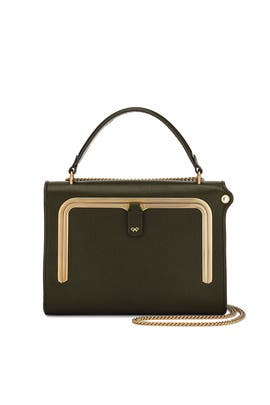 Dark Olive Small Postbox Bag by Anya Hindmarch