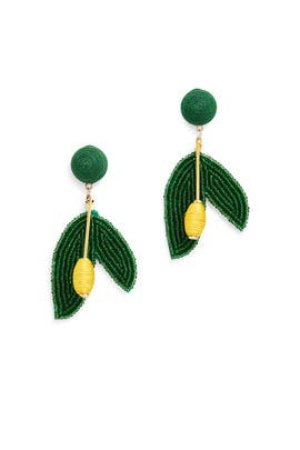 Beaded Leaf Earrings by Kenneth Jay Lane