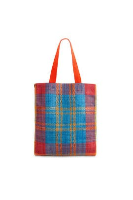 Plaid Woven Carryall Tote by Clare V.