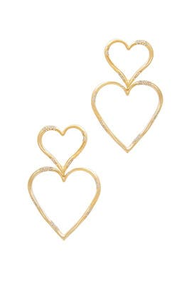 Double Heart Statement Pave Earrings by Joanna Laura Constantine