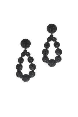 Black Beaded Teardrop Earrings by Sachin & Babi Accessories