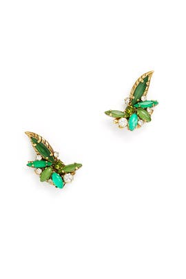 Green Earcrawler Studs by Erickson Beamon