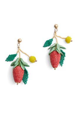 Multicolor Seedbead Berry Earrings by Kenneth Jay Lane