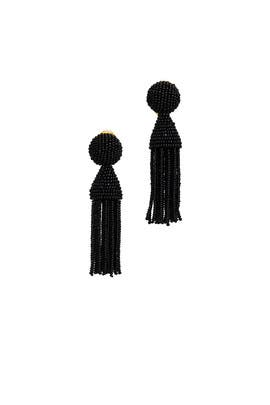 Black Short Tassel Earrings by Oscar de la Renta