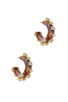 Camel Swirl Crystal Block Huggies by Lele Sadoughi