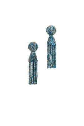 Blue Multi Short Tassel Earrings by Oscar de la Renta